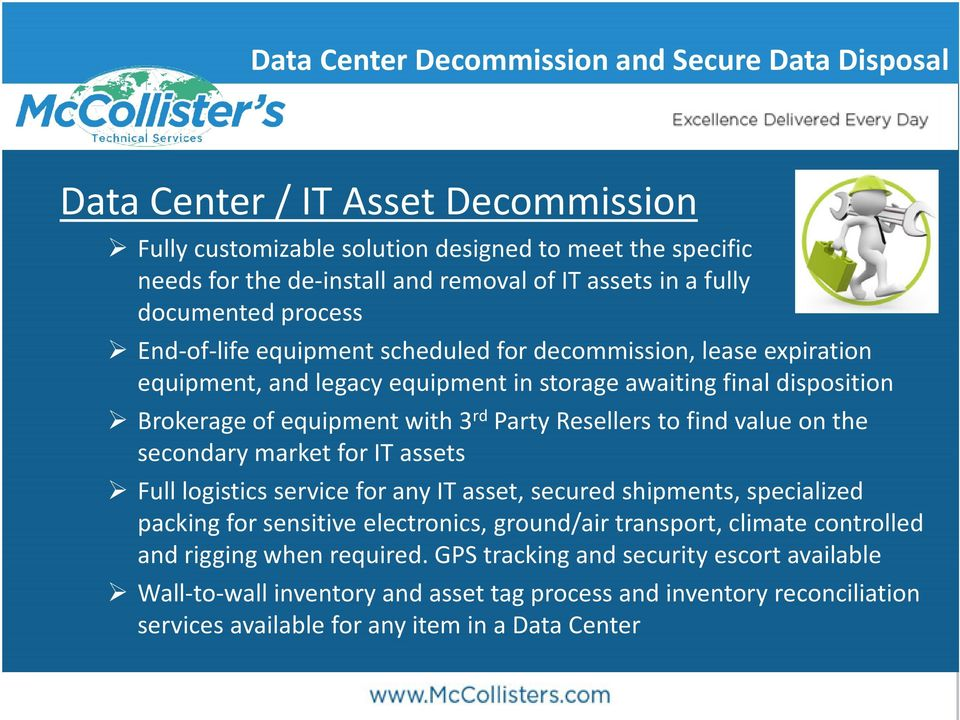 on the secondary market for IT assets Full logistics service for any IT asset, secured shipments, specialized packing for sensitive electronics, ground/air transport, climate controlled