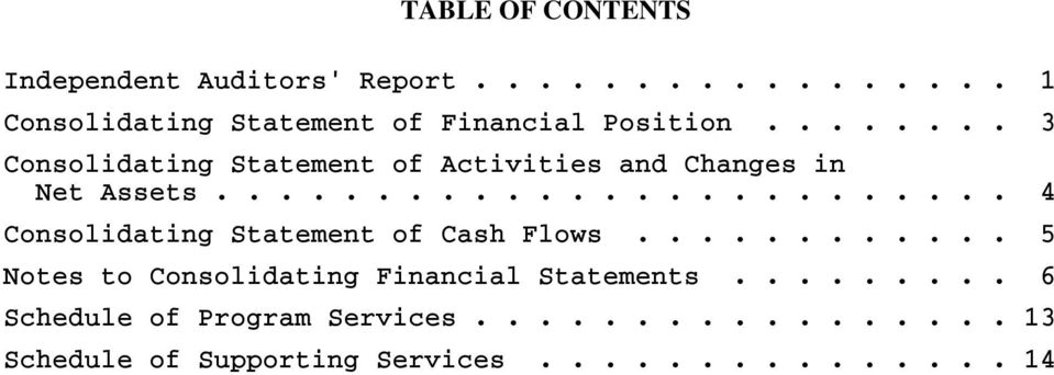 ........................ 4 Consolidating Statement of Cash Flows.