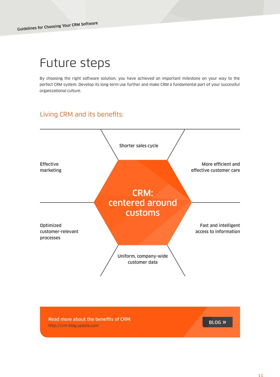 Living CRM and its benefits: Shorter sales cycle Effective marketing More efficient and effective customer care CRM: centered around customs
