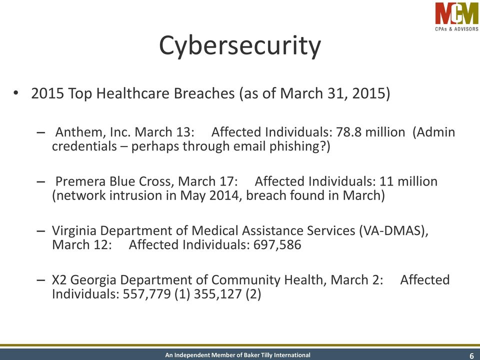 ) Premera Blue Cross, March 17: Affected Individuals: 11 million (network intrusion in May 2014, breach found in March)