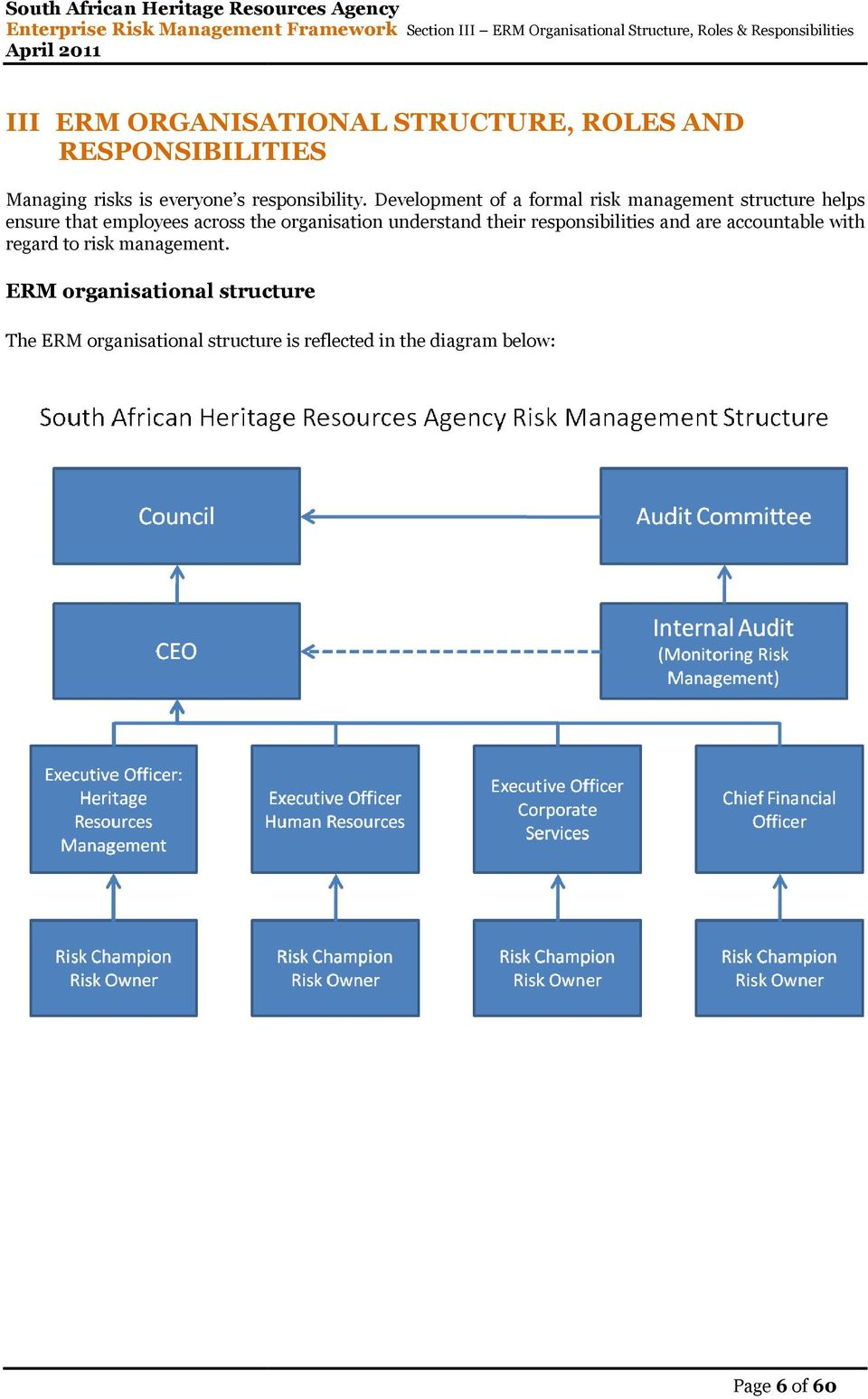 Development of a formal risk management structure helps ensure that employees across the organisation understand
