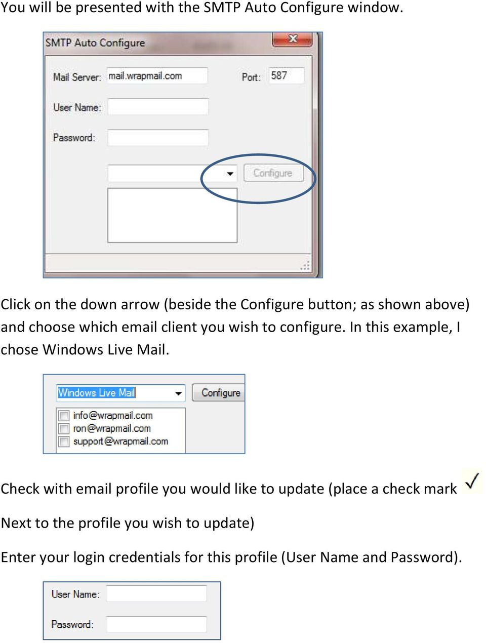 you wish to configure. In this example, I chose Windows Live Mail.