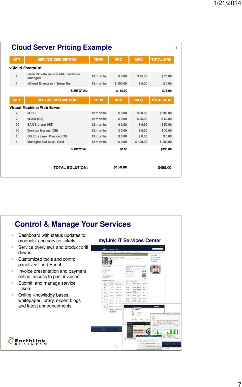Panel Invoice presentation and payment online, access to past invoices Submit and manage service tickets