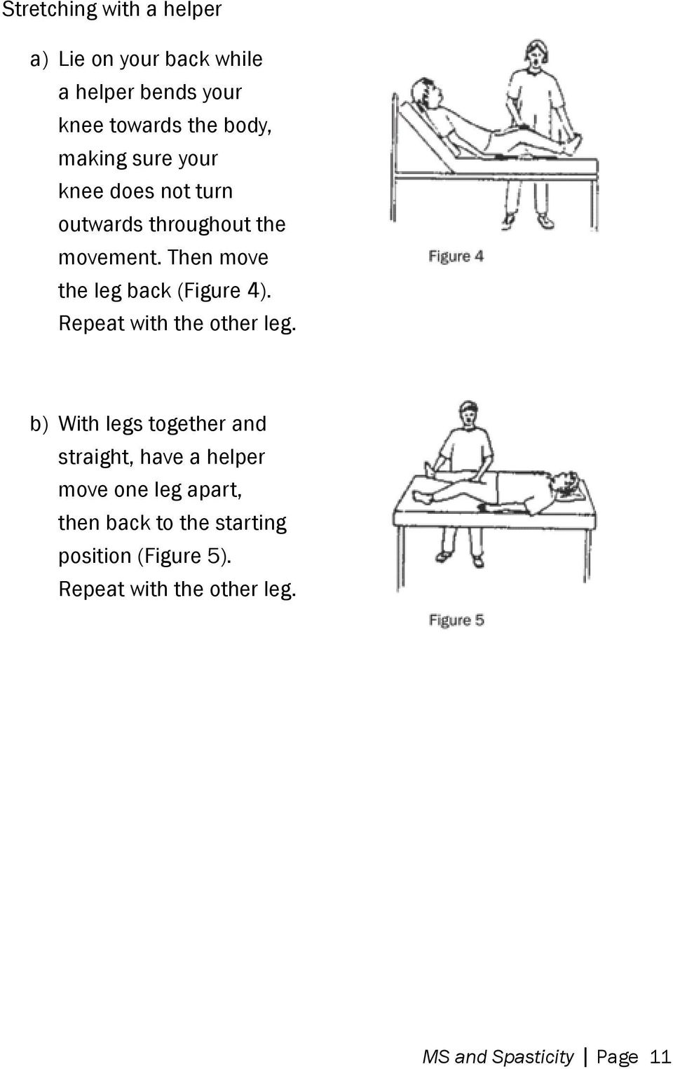 Then move the leg back (Figure 4). Repeat with the other leg.