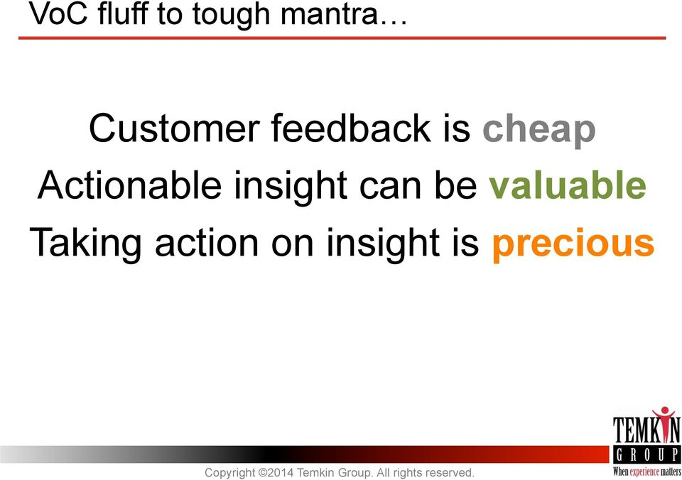 Actionable insight can be