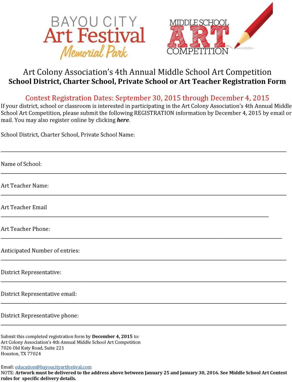 REGISTRATION information by December 4, 2015 by email or mail. You may also register online by clicking here.