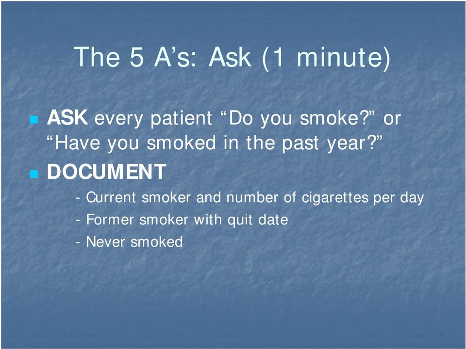 DOCUMENT - Current smoker and number of