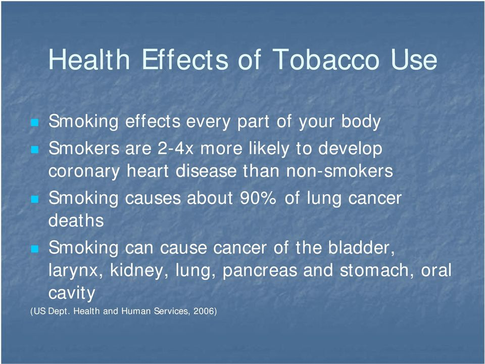 about 90% of lung cancer deaths Smoking can cause cancer of the bladder, larynx,