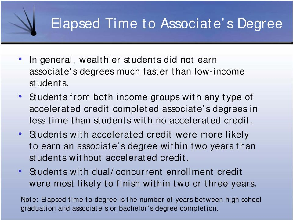 Students with accelerated credit were more likely to earn an associate s degree within two years than students without accelerated credit.