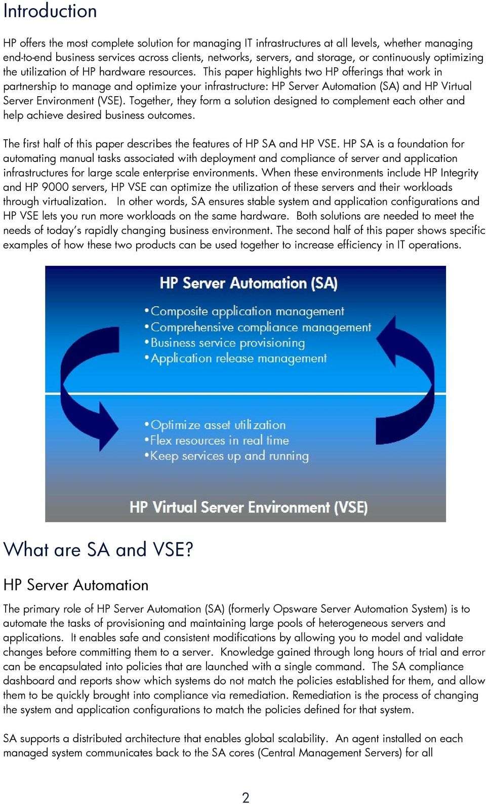 This paper highlights two HP offerings that work in partnership to manage and optimize your infrastructure: HP Server Automation (SA) and HP Virtual Server Environment (VSE).