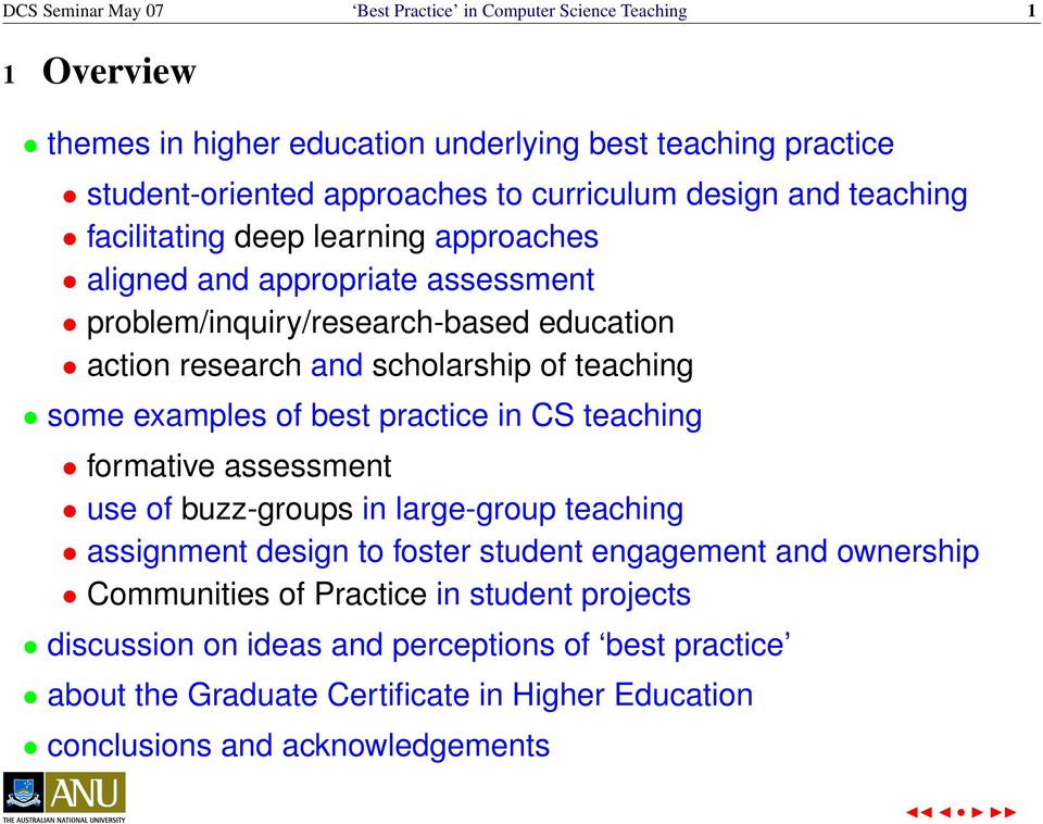 of teaching some examples of best practice in CS teaching formative assessment use of buzz-groups in large-group teaching assignment design to foster student engagement and