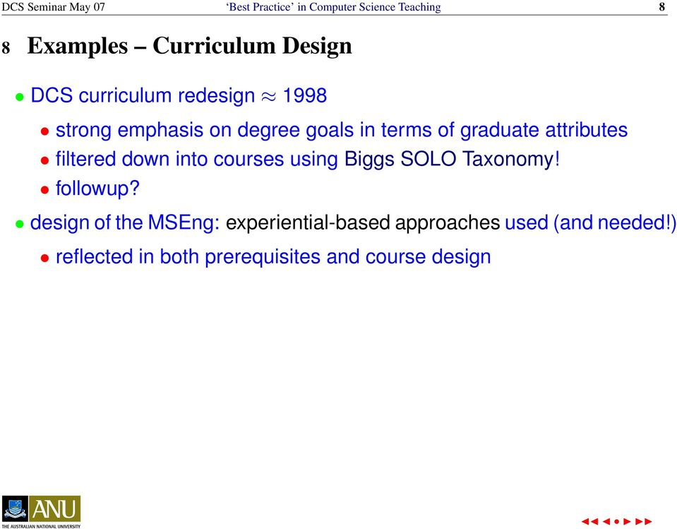 filtered down into courses using Biggs SOLO Taxonomy! followup?