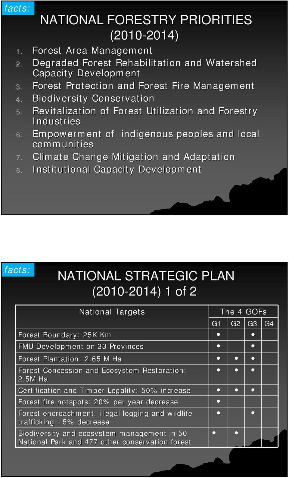 Institutional Capacity Development facts: NATIONAL STRATEGIC PLAN (2010-2014) 2014) 1 of 2 National Targets G1 The 4 GOFs G2 G3 Forest Boundary: 25K Km FMU Development on 33 Provinces Forest