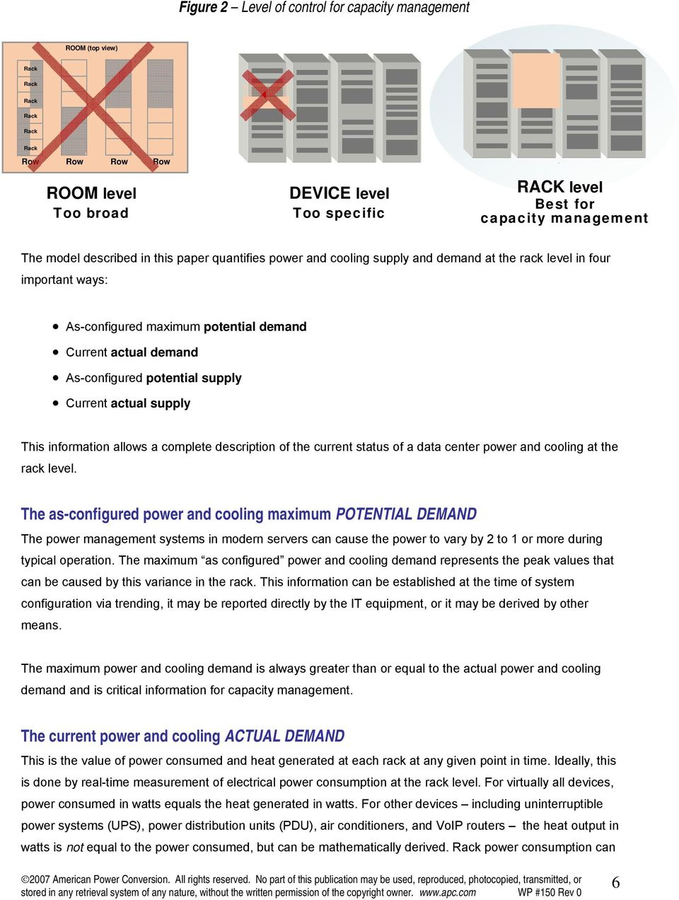 potential supply Current actual supply This information allows a complete description of the current status of a data center power and cooling at the rack level.