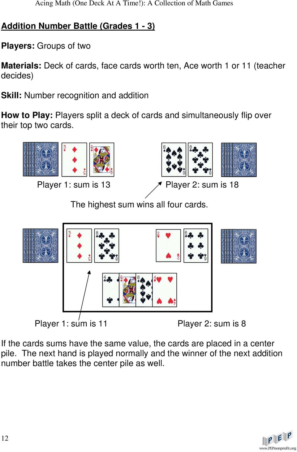 Player 1: sum is 13 Player 2: sum is 18 The highest sum wins all four cards.