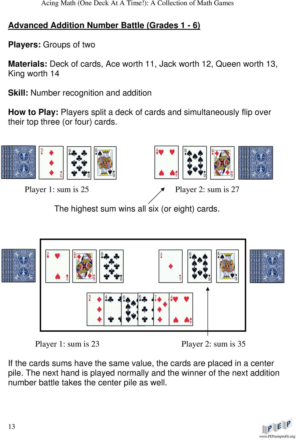 Player 1: sum is 25 Player 2: sum is 27 The highest sum wins all six (or eight) cards.