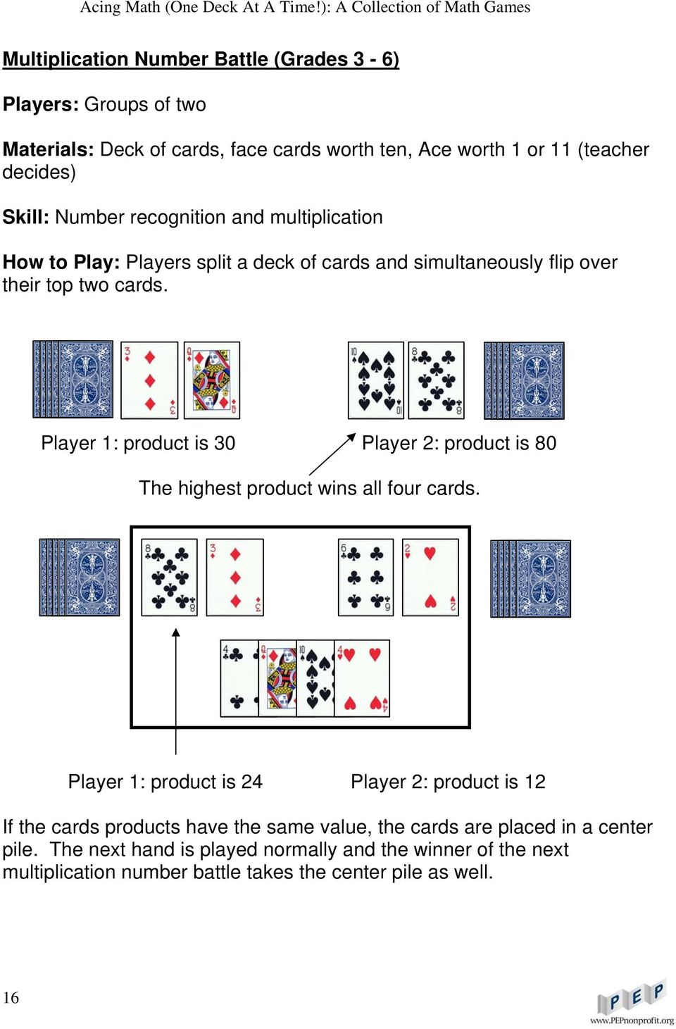 Player 1: product is 30 Player 2: product is 80 The highest product wins all four cards.