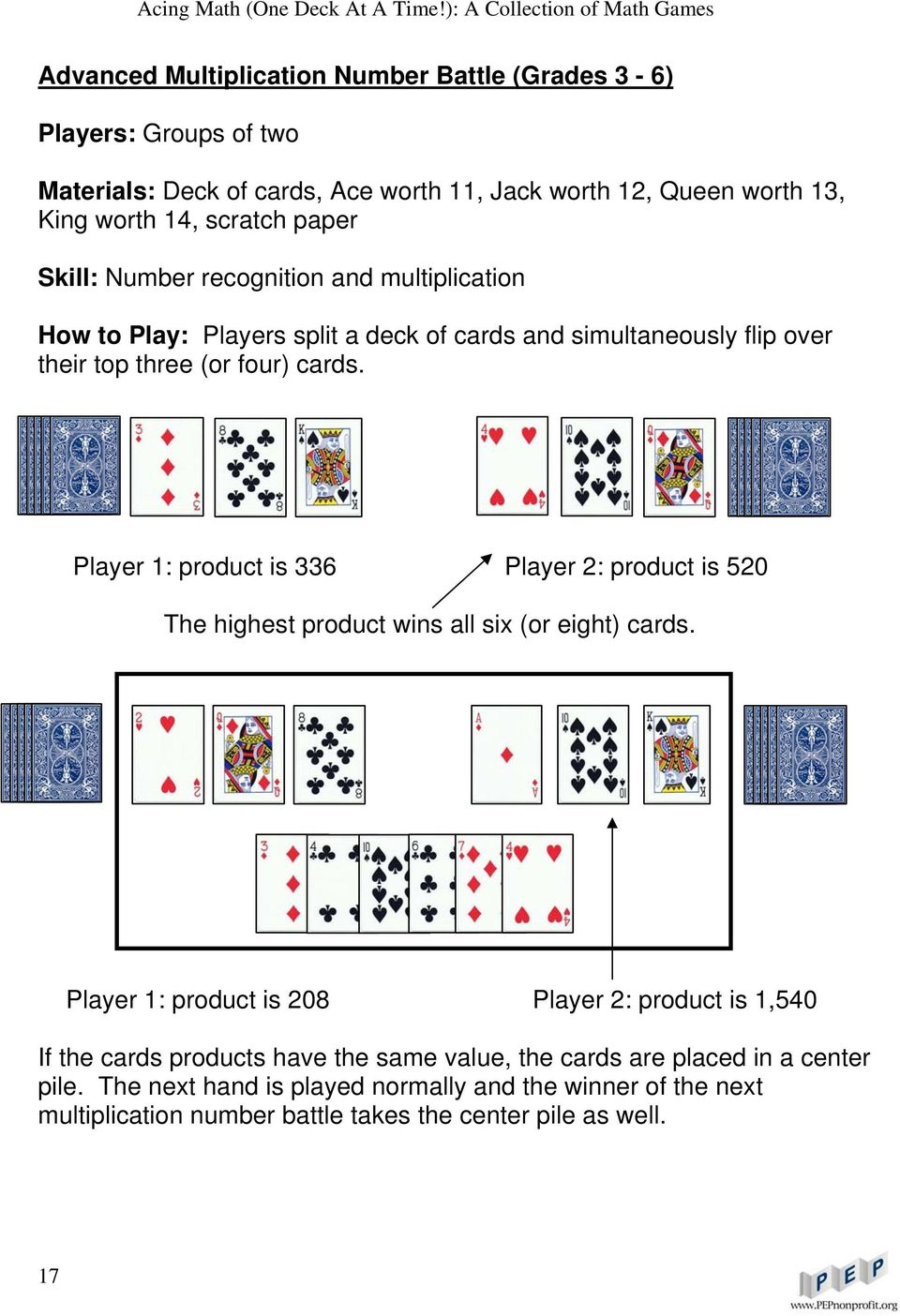 Player 1: product is 336 Player 2: product is 520 The highest product wins all six (or eight) cards.
