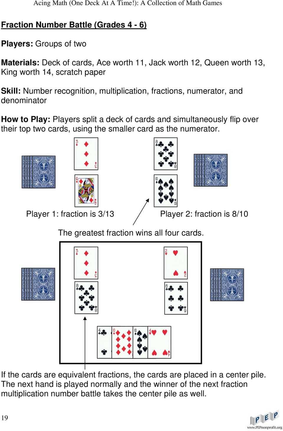 using the smaller card as the numerator. Player 1: fraction is 3/13 Player 2: fraction is 8/10 The greatest fraction wins all four cards.