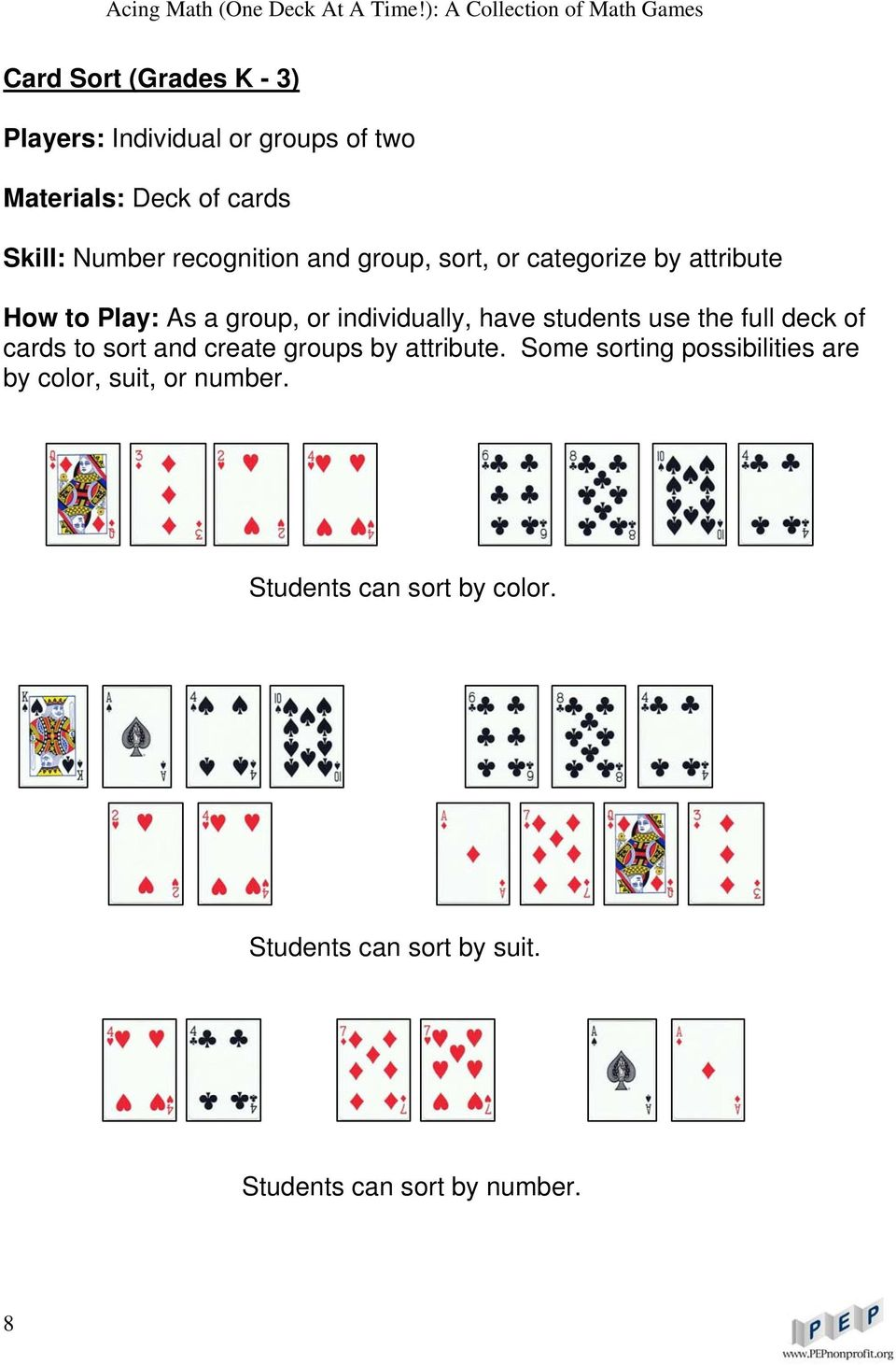 students use the full deck of cards to sort and create groups by attribute.