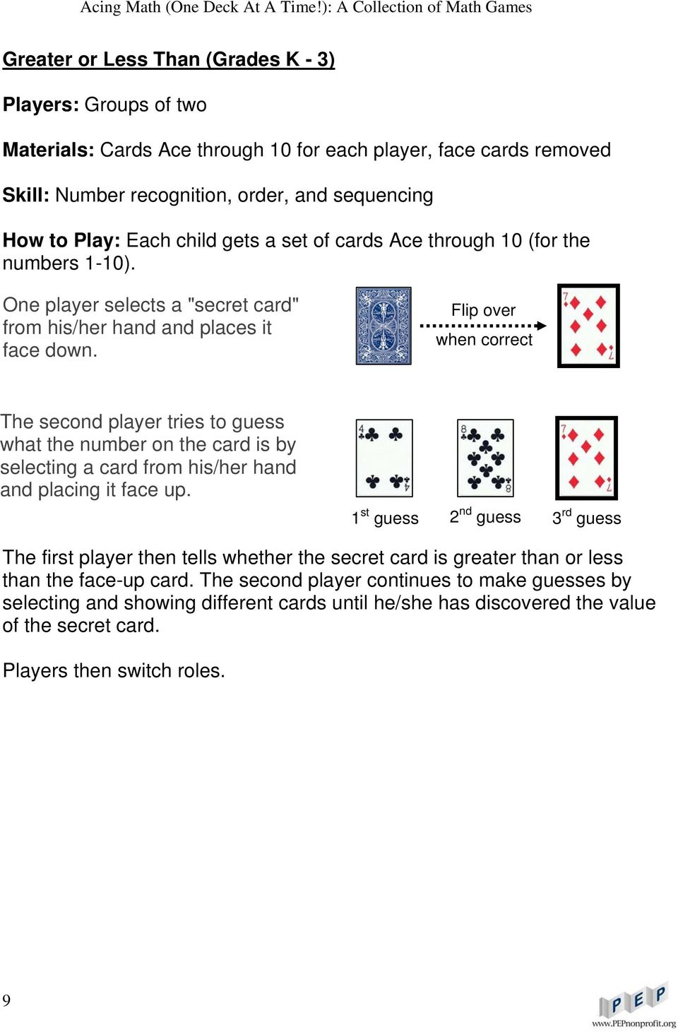 Flip over when correct The second player tries to guess what the number on the card is by selecting a card from his/her hand and placing it face up.