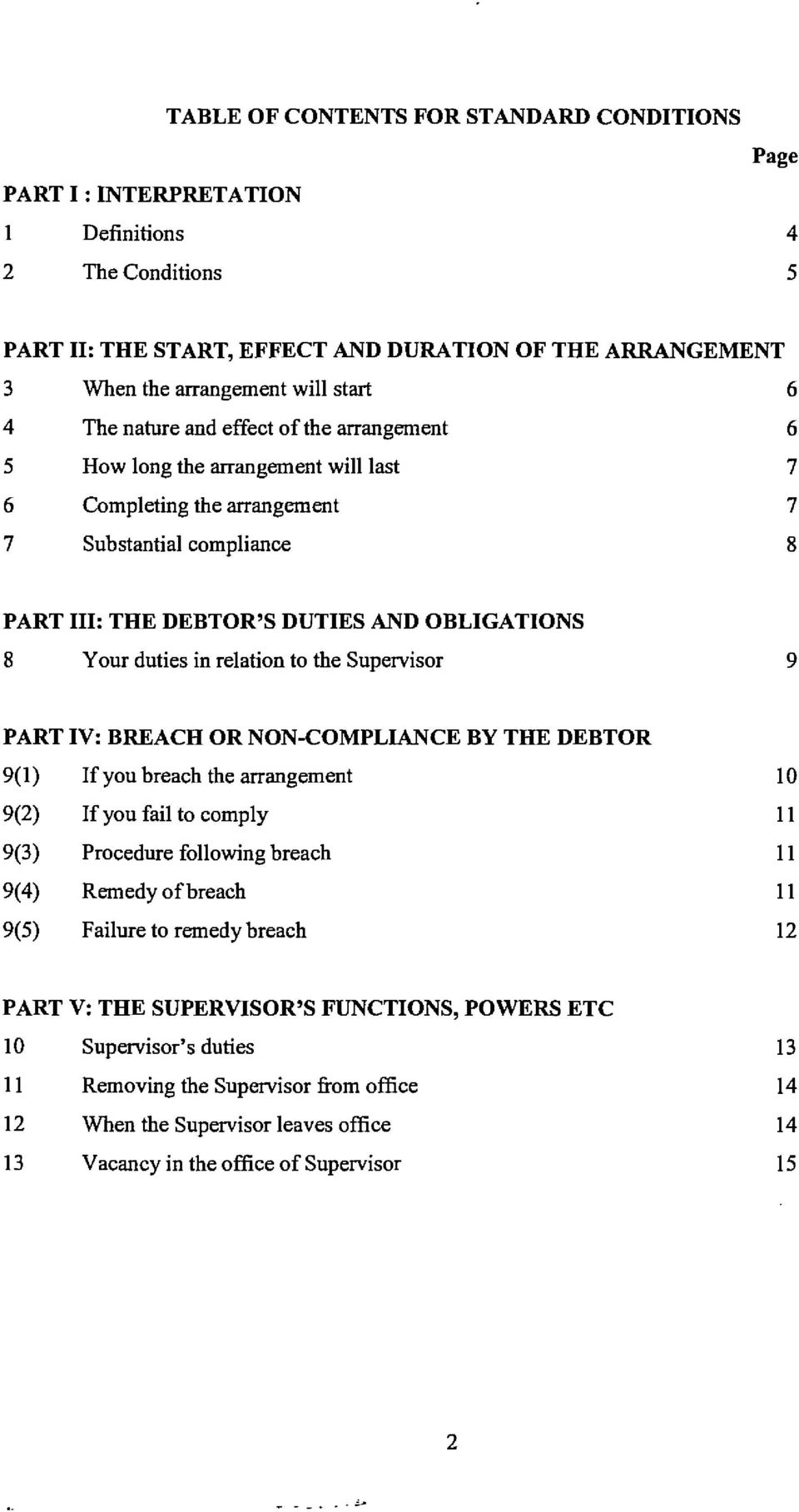 duties in relation to the Supervisor 9 PART IV: BREACH OR NON-COMPLIANCE BY THE DEBTOR 9(1) If you breach the arrangement 9(2) If you fail to comply 9(3) Procedure following breach 9(4) Remedy of