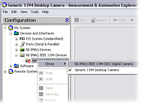 7. If your camera does not show up as an NI-IMAQ IEEE 1394 digital camera, change the associated driver by right-clicking the camera and selecting Driver»NI-IMAQ IEEE 1394 IIDC Digital Camera, as
