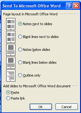 Saving Notes as a Separate Document 1. Select Publish from Office button drop down menu. 2. Select Create Handouts in Microsoft Office Word in the pop-up box. Figure 12.