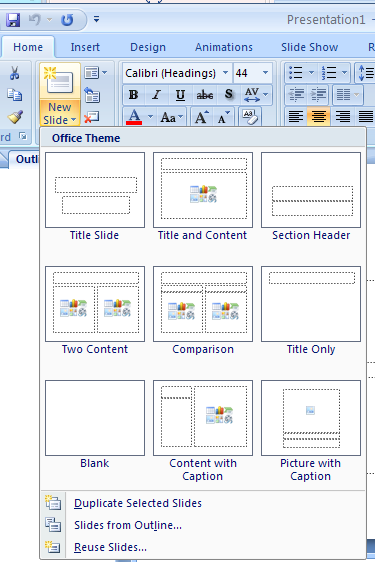 Slide Layouts To create a slide presentation, select a layout from the nine built-in PowerPoint slide layouts.