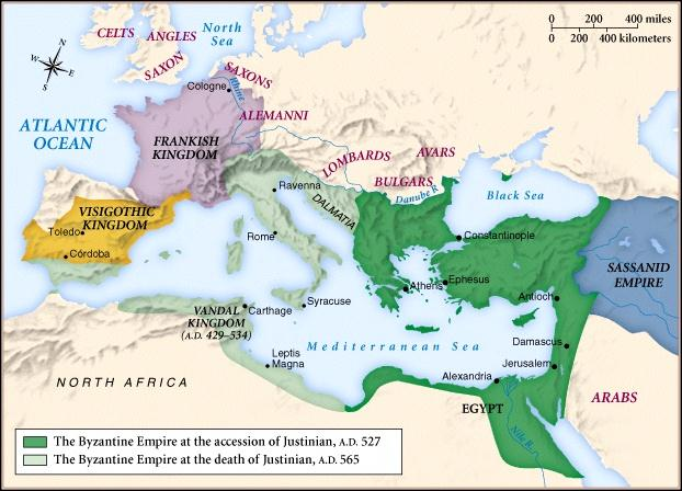 The Byzantine Empire During the Reign of Justinian -Civil wars break out to decide who should hold power.