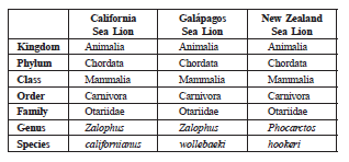 8. The table below shows the classifications of three different sea lions: a. Identify which two of the sea lions are most closely related. b. Justify your answer to part (a).