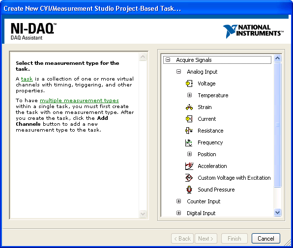 To Configure Your Task 1. In the Create New dialog box of the DAQ Assistant, you can begin to interactively define your DAQ task.