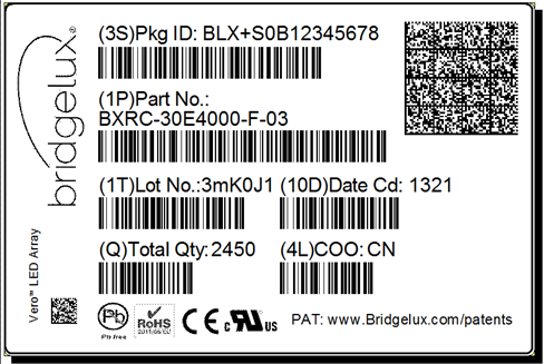 7 Product Labeling Bridgelux COB arrays have laser markings on the back side of the substrate to help with product identification.