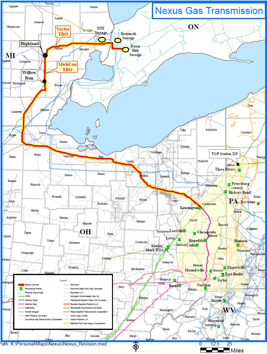 and Ontario markets 250 mile, large diameter pipeline delivering at least 1 Bcf/d In-service date of November 2017 for greenfield pipeline Phased-in