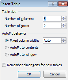 An empty table appears on your screen and you are ready to begin adding information. To select columns, drag across; to select rows, drag down. Your table will appear with borders.