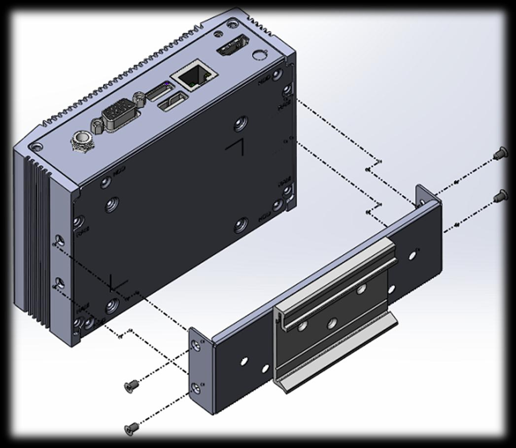 DIN-Rail Mounting Bracket Easy installation for industrial control equipment Supports VESA mounting hole