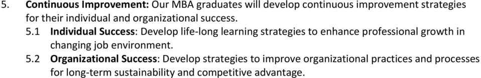 1 Individual Success: Develop life long learning strategies to enhance professional growth in changing