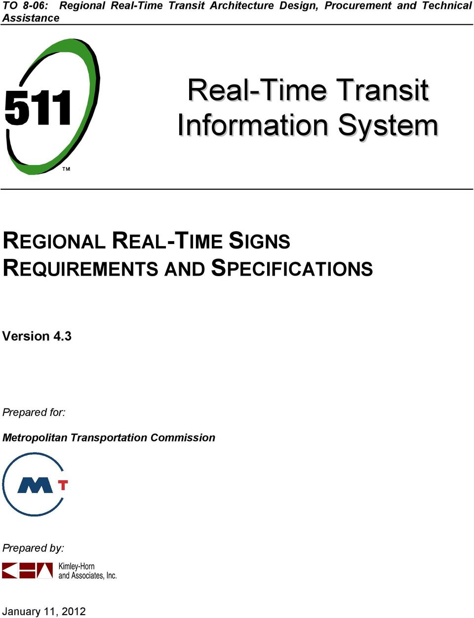 REAL-TIME SIGNS REQUIREMENTS AND SPECIFICATIONS Version 4.