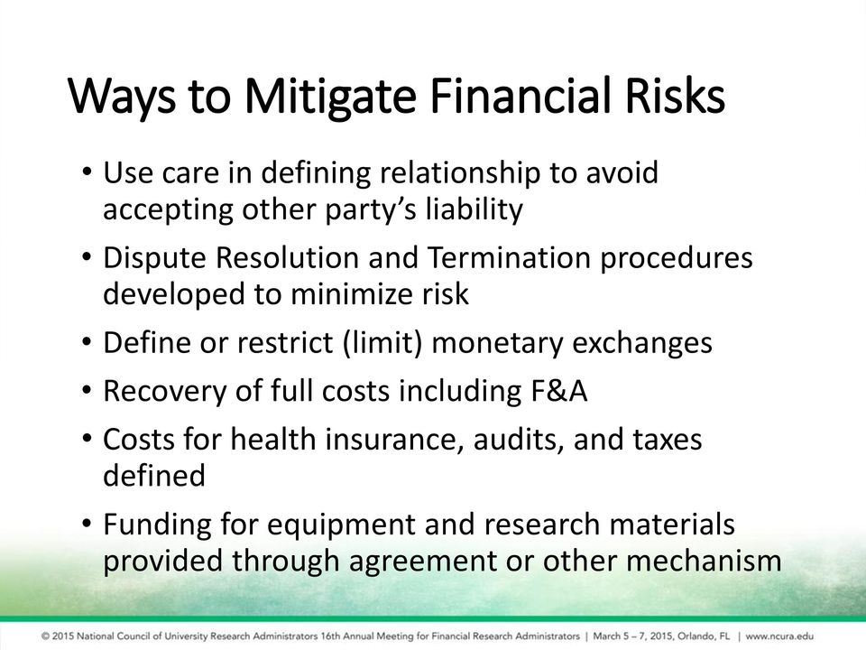 (limit) monetary exchanges Recovery of full costs including F&A Costs for health insurance, audits,