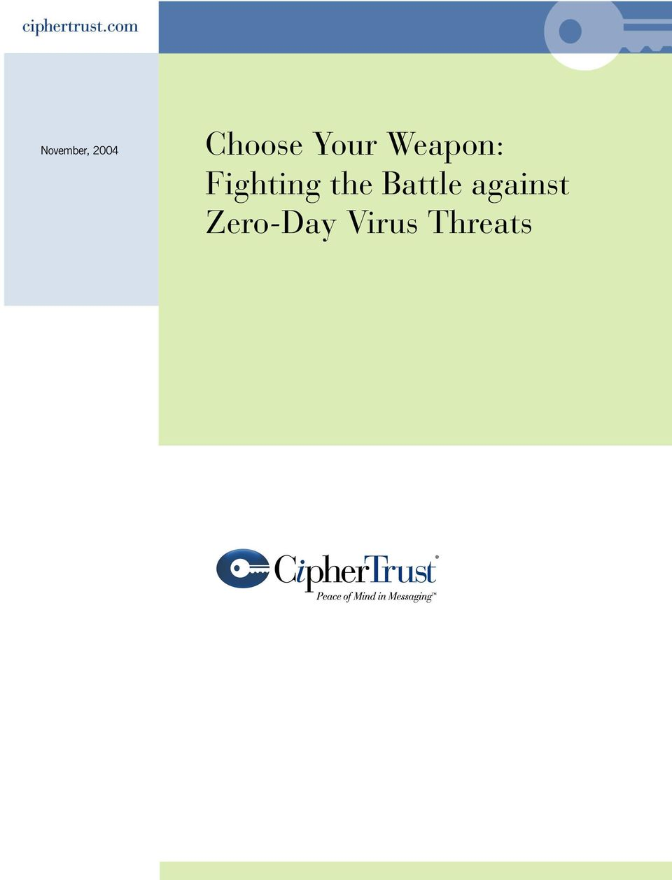 November, 2004  against Zero-Day Virus