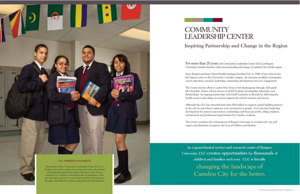 Its extensive portfolio of programs covers education, research, leadership, community development and civic engagement.