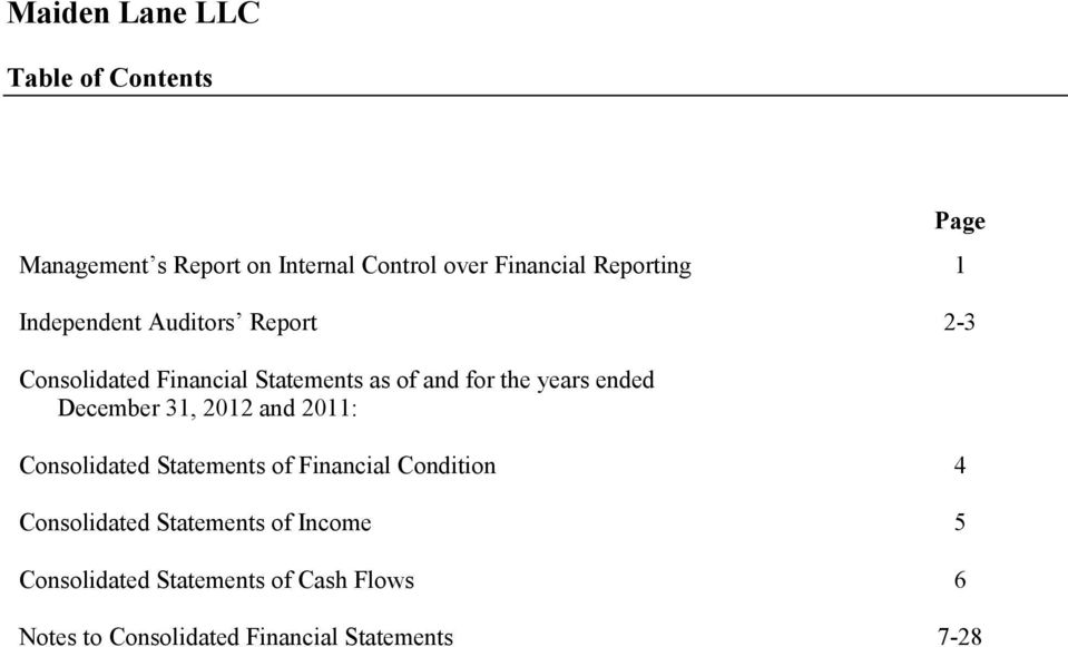 years ended December 31, 2012 and 2011: Consolidated Statements of Financial