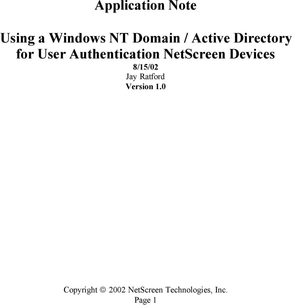 Authentication NetScreen Devices
