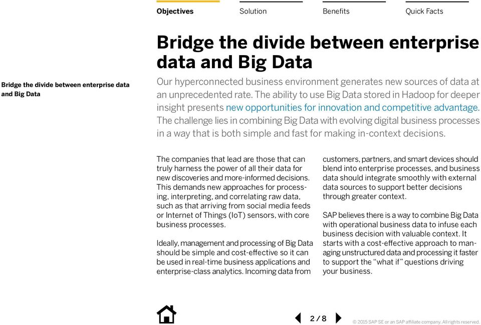 The challenge lies in combining Big Data with evolving digital business processes in a way that is both simple and fast for making in-context decisions.