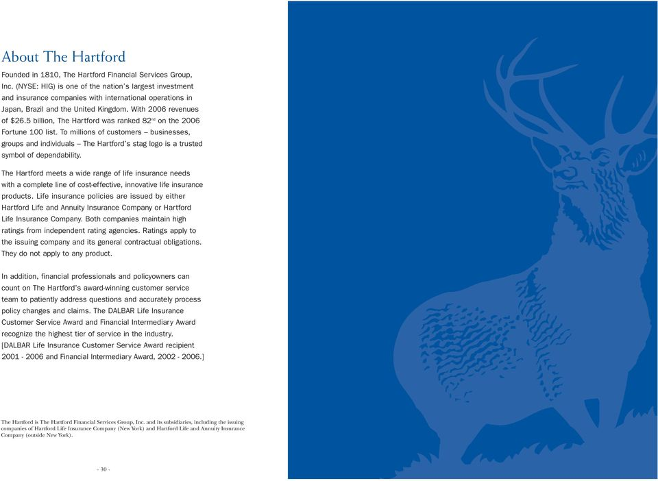 billion, The Hartford was ranked 8 nd on the 006 Fortune 00 list. To millions of customers businesses, groups and individuals The Hartford s stag logo is a trusted symbol of dependability.