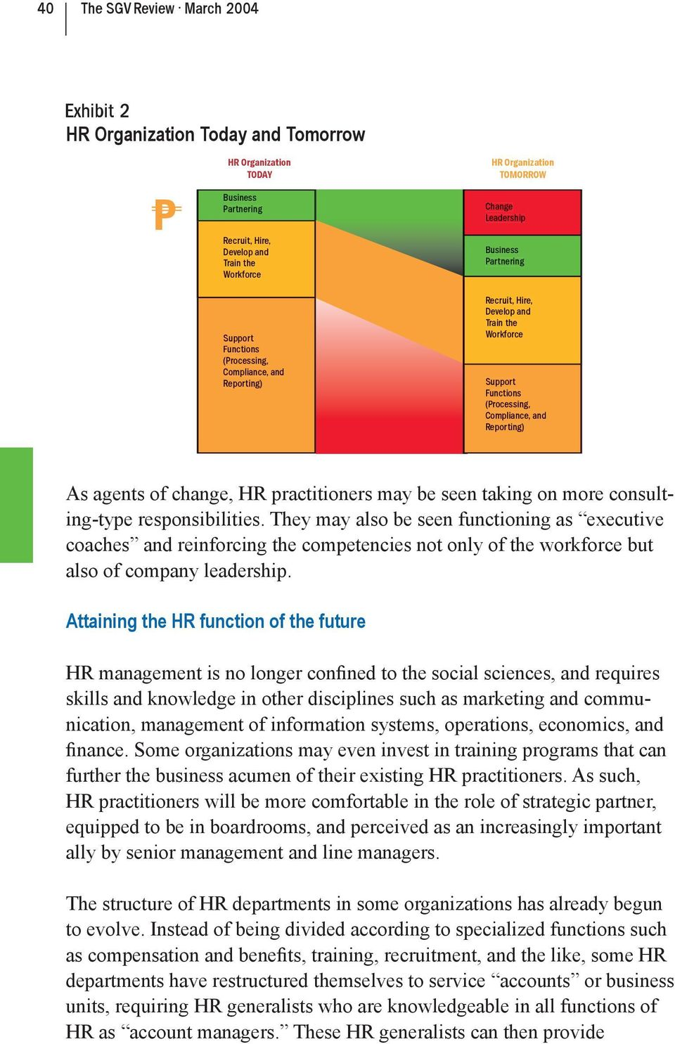 agents of change, HR practitioners may be seen taking on more consulting-type responsibilities.