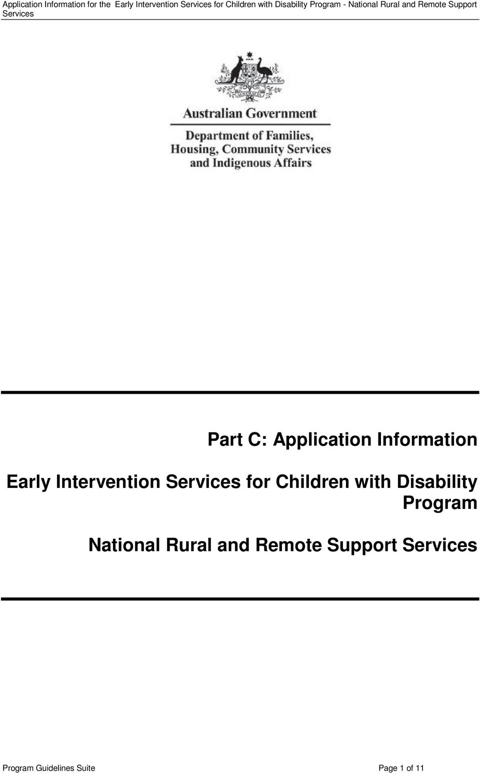 C: Application Information Early Intervention Services for Children with