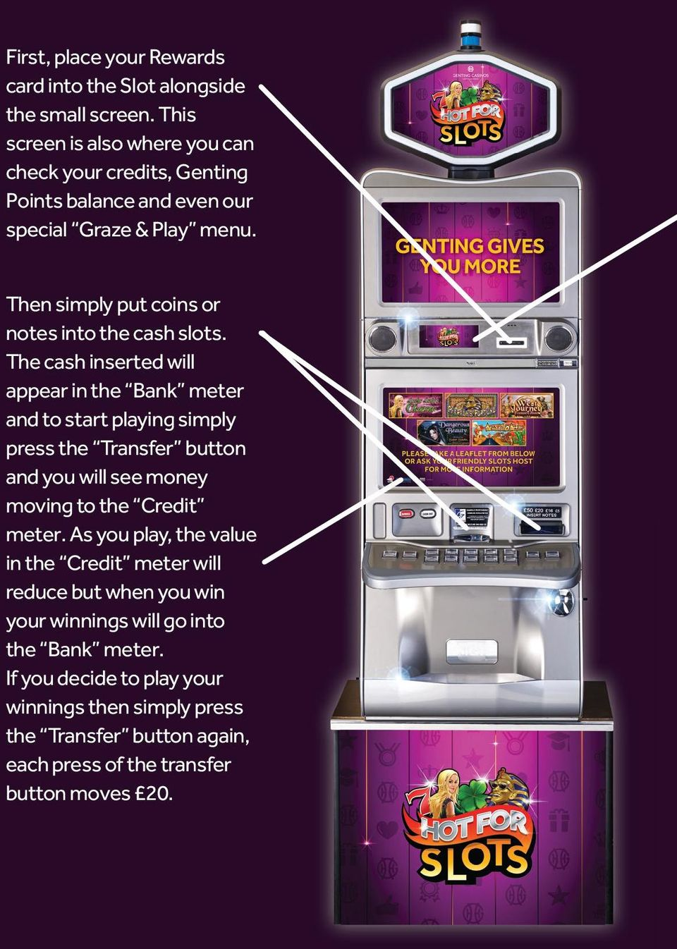 Then simply put coins or notes into the cash slots.
