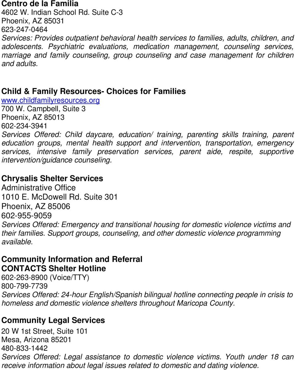 Child & Family Resources- Choices for Families www.childfamilyresources.org 700 W.