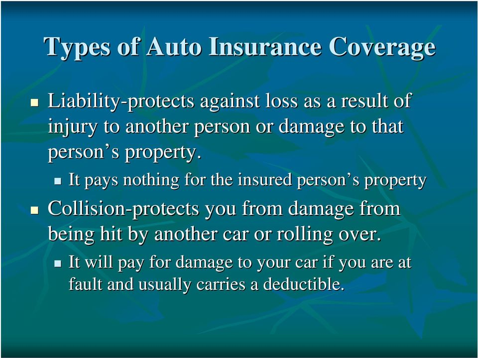 It pays nothing for the insured person s property Collision-protects you from damage from